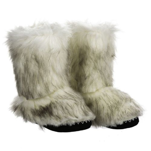 ANIMAL WOMENS SLIPPER BOOTS.BOLLO FLUFFY FURRY FAUX FUR LINED SLIPPERS 8W 15 P72